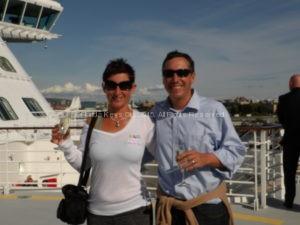 Embarking on an Alaskan cruise, wearing yoga pants.